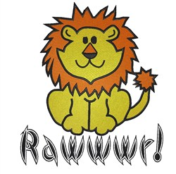 Cartoon Lion Rawwwr embroidery design