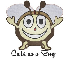 Cute Smiling Bug embroidery design