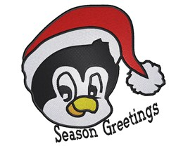 Penguin Santa Head embroidery design