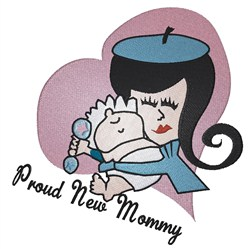 Proud New Mommy embroidery design