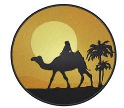 Sunset Camel Scene embroidery design