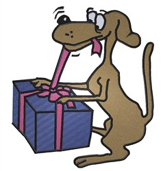 Present for Doggy embroidery design