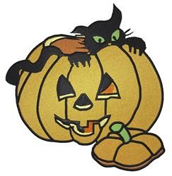 Black Cat in Pumpkin embroidery design