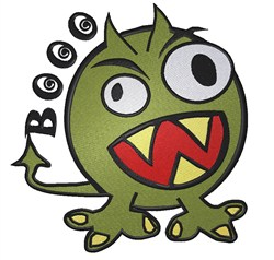 Funny angry Monster Booo embroidery design