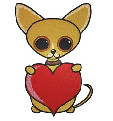 Chihuahua Heart embroidery design