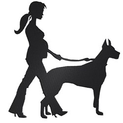 Woman with Doberman embroidery design