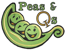 Peas and Qs embroidery design