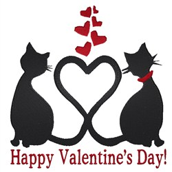Valentines Cat embroidery design