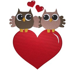 Valentine Owls embroidery design