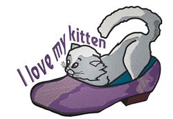 Love My Kitten embroidery design