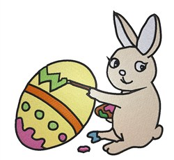 Bunny Painting Egg embroidery design