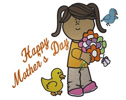 Mothers Day Girl embroidery design