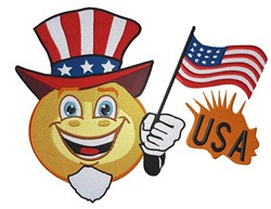 USA Smiley embroidery design