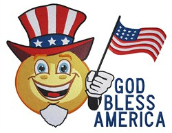 Bless America Smiley embroidery design