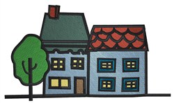 Houses Scene embroidery design