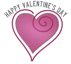 Happy Valentines Heart embroidery design