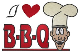 I Love BBQ embroidery design