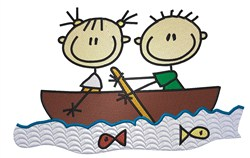 Stick Kids in Boat embroidery design