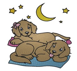 Puppies Camping embroidery design