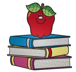 Books with Apple embroidery design