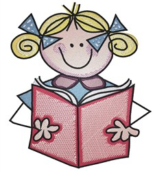 Stick Girl Reading embroidery design