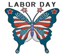 Butterfly Labor Day embroidery design