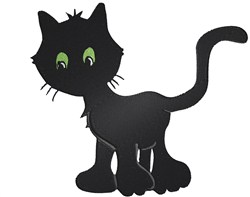 Black Kitty embroidery design