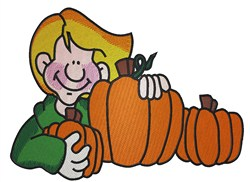 Boy And Pumpkins embroidery design