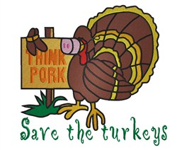 Save the Turkeys embroidery design
