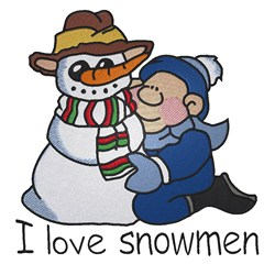 Love Snowmen embroidery design