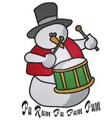 Little Drummer Snowman embroidery design
