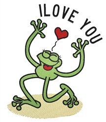 Love You Frog embroidery design