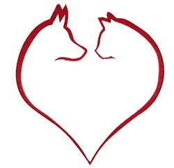 Dog & Cat heart embroidery design