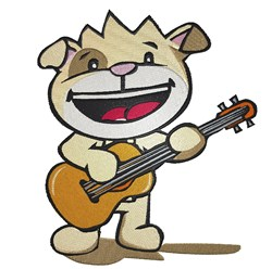 Dog With Guitar embroidery design