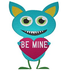 Little Monster with Heart Be mine embroidery design