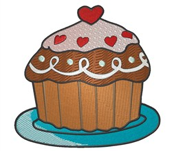 Heart Cupcake embroidery design