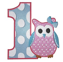 1st Birthday  Owl embroidery design