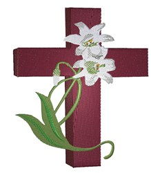 Easter Lilies On Cross embroidery design