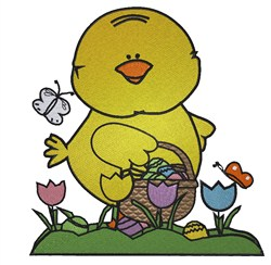 Egg Hunting Chick embroidery design
