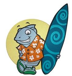Shark & Surfboard embroidery design