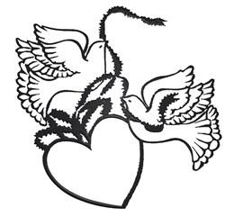 Wedding Doves & Heart embroidery design