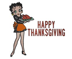 Betty Boop Thanksgiving embroidery design