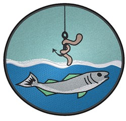 Fish in Round Frame embroidery design