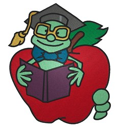 Bookworm Graduate embroidery design