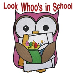 Whoos in School embroidery design