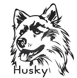 Husky Dog embroidery design