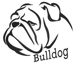 Bulldog Outline embroidery design