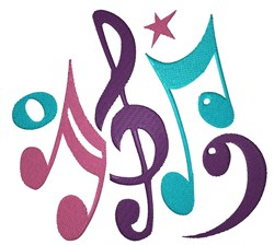 Colorful Musical Notes embroidery design