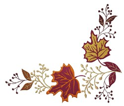 Autumn Leaf Corner embroidery design