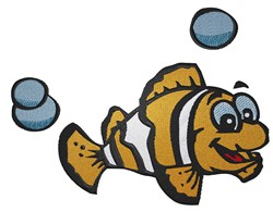 Smiling Clownfish embroidery design